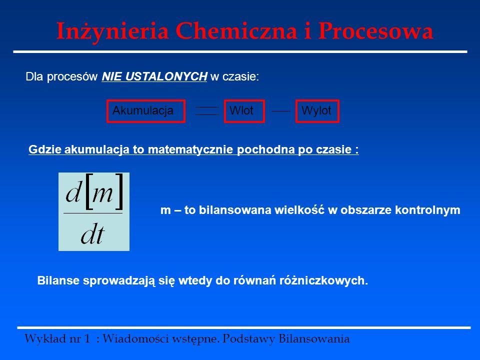 Inżynieria Chemiczna i Procesowa Wykład nr 1 : Wiadomości wstępne. Podstawy Bilansowania Dla procesów NIE USTALONYCH w czasie: AkumulacjaWlotWylot Gdz