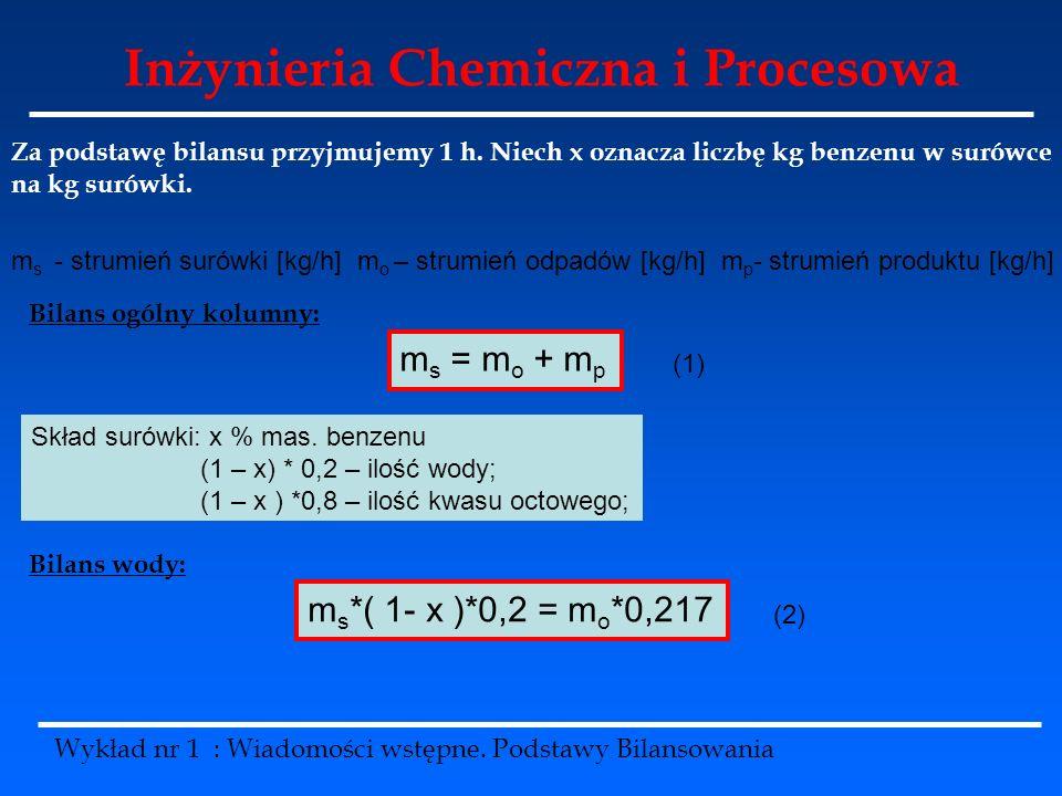 Inżynieria Chemiczna i Procesowa Wykład nr 1 : Wiadomości wstępne. Podstawy Bilansowania Za podstawę bilansu przyjmujemy 1 h. Niech x oznacza liczbę k