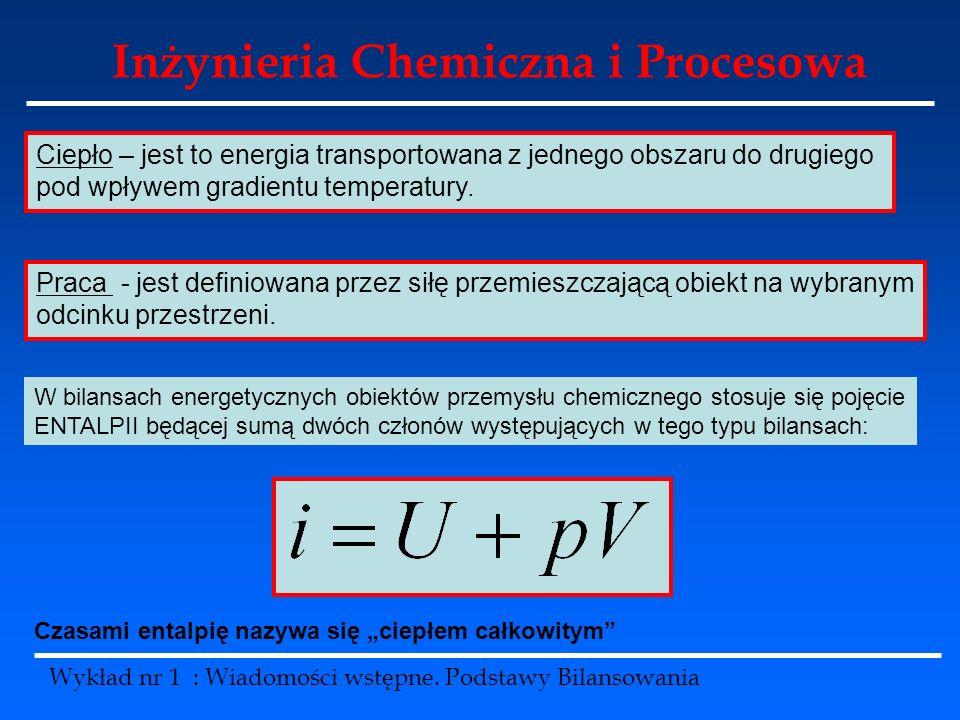 Inżynieria Chemiczna i Procesowa Wykład nr 1 : Wiadomości wstępne. Podstawy Bilansowania Ciepło – jest to energia transportowana z jednego obszaru do