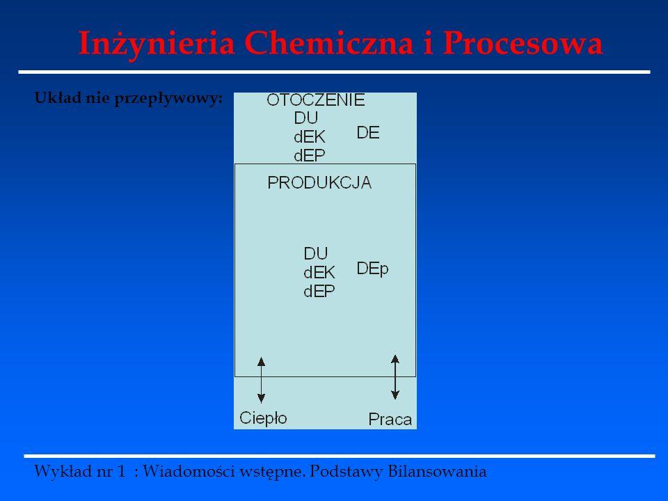 Inżynieria Chemiczna i Procesowa Wykład nr 1 : Wiadomości wstępne. Podstawy Bilansowania Układ nie przepływowy: