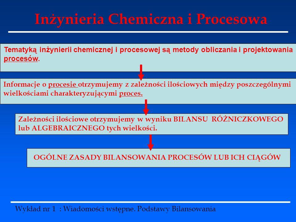 Wykład nr 1 : Wiadomości wstępne. Podstawy Bilansowania Tematyką inżynierii chemicznej i procesowej są metody obliczania i projektowania procesów. Inf