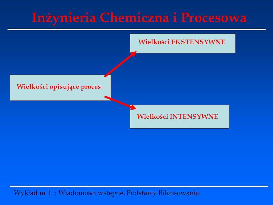 Inżynieria Chemiczna i Procesowa Wykład nr 1 : Wiadomości wstępne. Podstawy Bilansowania Wielkości opisujące proces Wielkości EKSTENSYWNE Wielkości IN