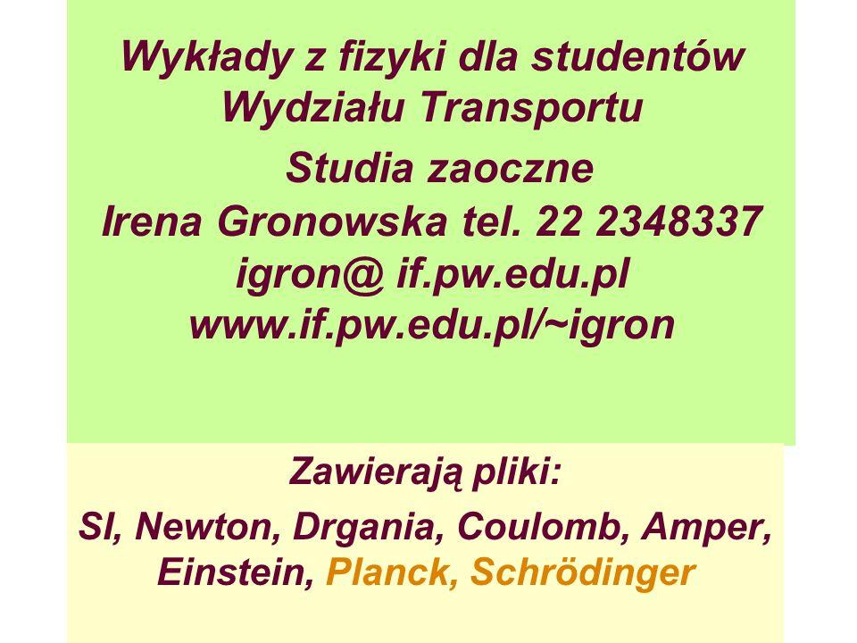 Wykłady z fizyki dla studentów Wydziału Transportu Studia zaoczne Irena Gronowska tel. 22 2348337 igron@ if.pw.edu.pl www.if.pw.edu.pl/~igron Zawieraj