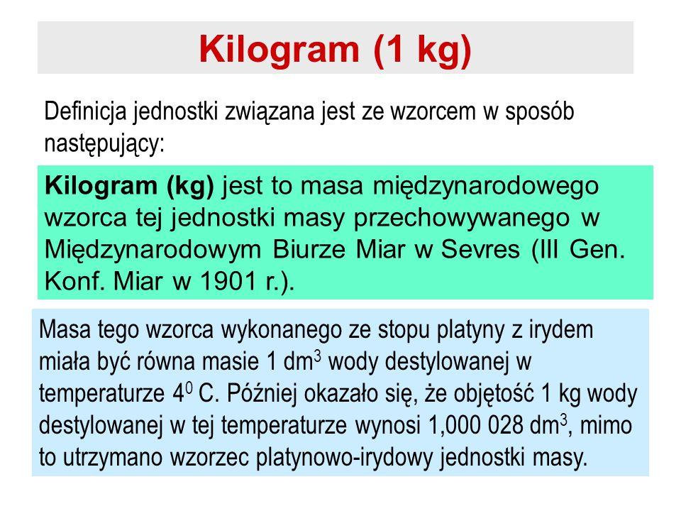 Kilogram (1 kg) Definicja jednostki związana jest ze wzorcem w sposób następujący: Kilogram (kg) jest to masa międzynarodowego wzorca tej jednostki ma