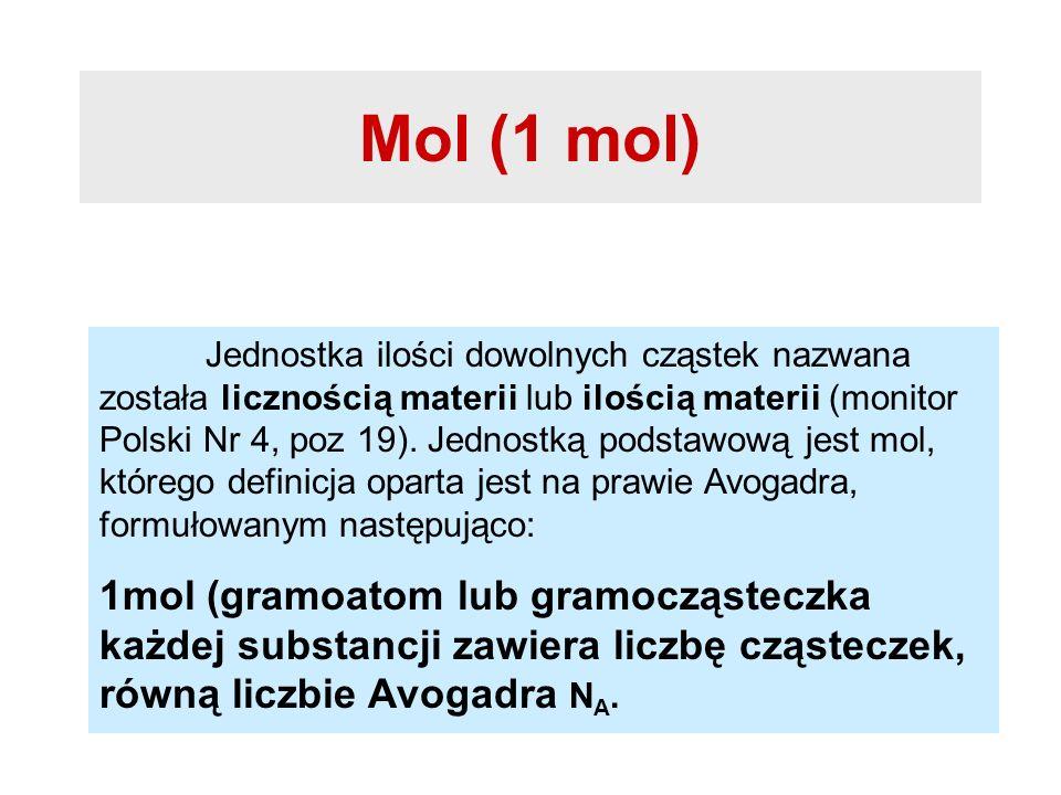 Mol (1 mol) Jednostka ilości dowolnych cząstek nazwana została licznością materii lub ilością materii (monitor Polski Nr 4, poz 19). Jednostką podstaw