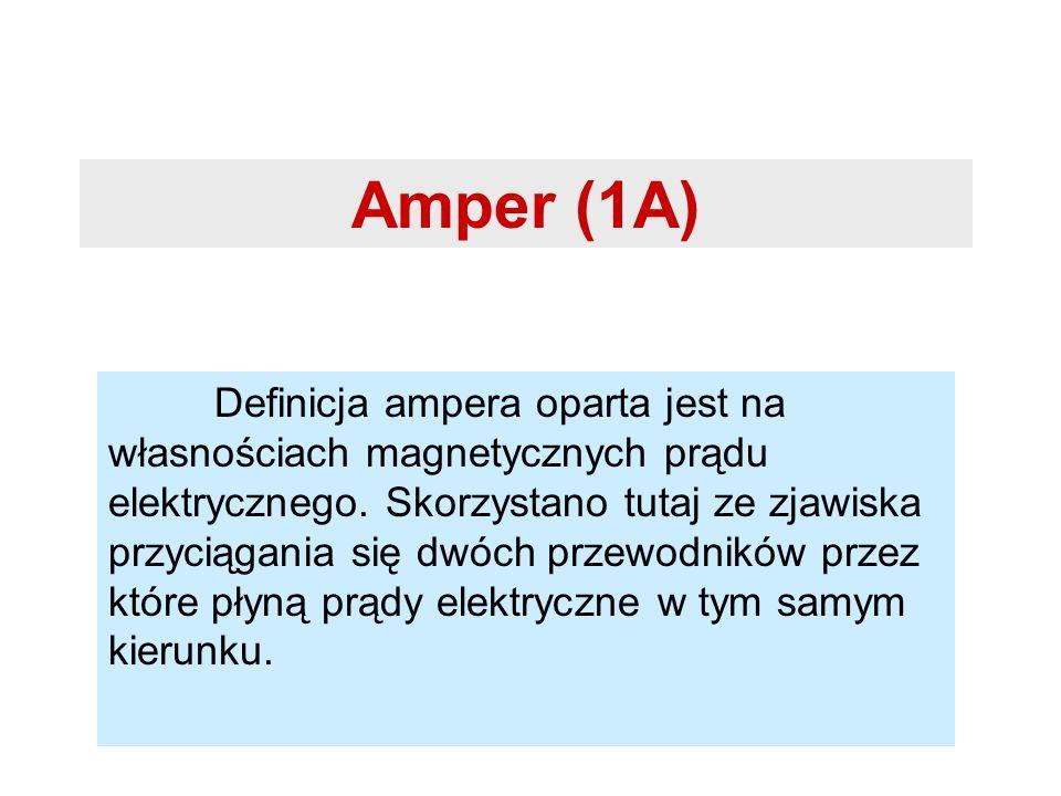 Amper (1A) Definicja ampera oparta jest na własnościach magnetycznych prądu elektrycznego. Skorzystano tutaj ze zjawiska przyciągania się dwóch przewo