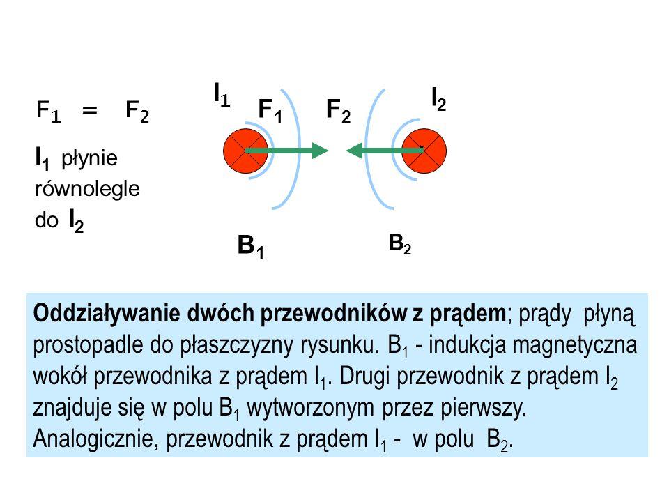 B1B1 F1F1 F2F2 I 1 I2I2 F 1 = F 2 I 1 płynie równolegle do I 2 Oddziaływanie dwóch przewodników z prądem ; prądy płyną prostopadle do płaszczyzny rysu