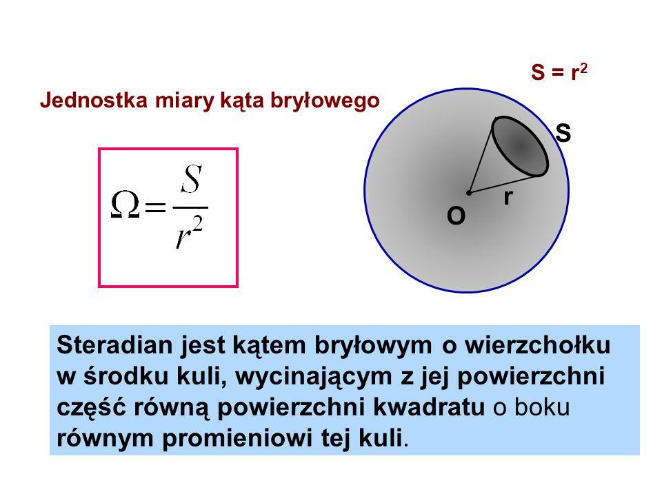 r S O Steradian jest kątem bryłowym o wierzchołku w środku kuli, wycinającym z jej powierzchni część równą powierzchni kwadratu o boku równym promieni