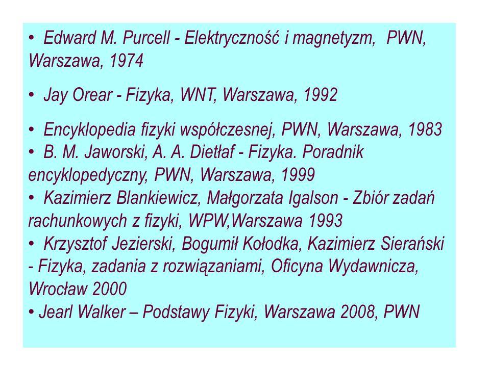 Edward M. Purcell - Elektryczność i magnetyzm, PWN, Warszawa, 1974 Jay Orear - Fizyka, WNT, Warszawa, 1992 Encyklopedia fizyki współczesnej, PWN, Wars