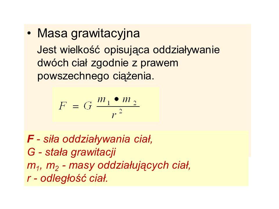 Masa grawitacyjna Jest wielkość opisująca oddziaływanie dwóch ciał zgodnie z prawem powszechnego ciążenia. F - siła oddziaływania ciał, G - stała graw