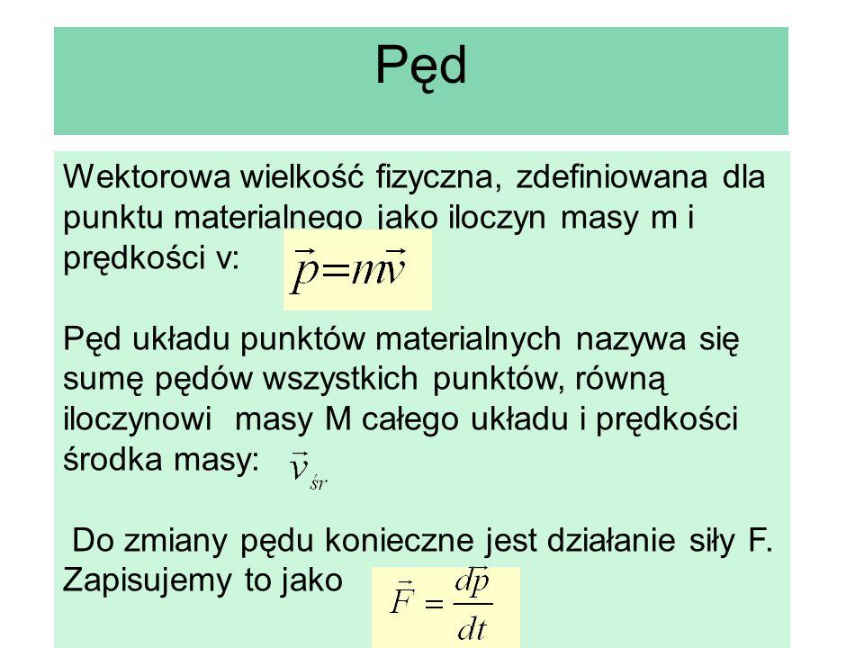 Pęd Wektorowa wielkość fizyczna, zdefiniowana dla punktu materialnego jako iloczyn masy m i prędkości v: Pęd układu punktów materialnych nazywa się su