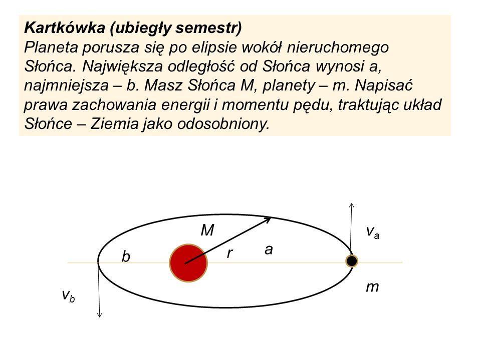 Kartkówka (ubiegły semestr) Planeta porusza się po elipsie wokół nieruchomego Słońca. Największa odległość od Słońca wynosi a, najmniejsza – b. Masz S