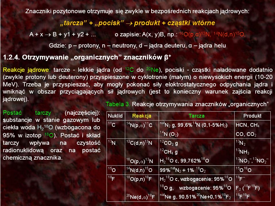 Znaczniki pozytonowe otrzymuje się zwykle w bezpośrednich reakcjach jądrowych: tarcza + pocisk produkt + cząstki wtórne A + x B + y1 + y2 +... o zapis