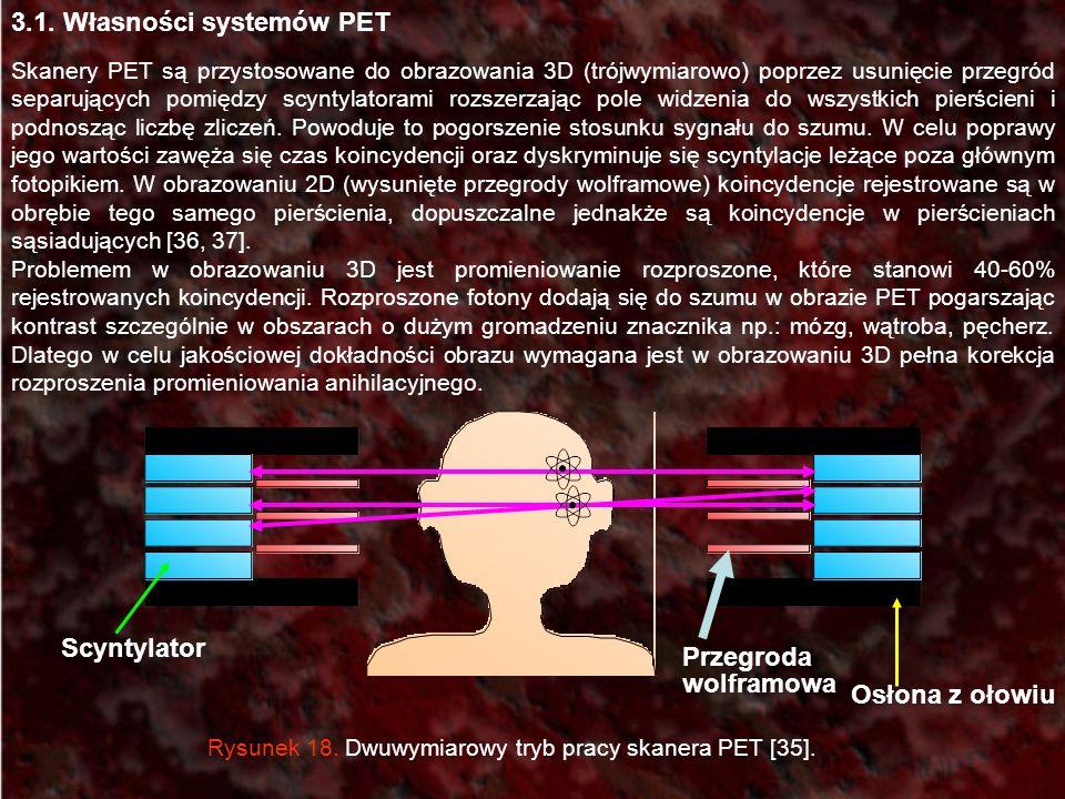 3.1. Własności systemów PET Skanery PET są przystosowane do obrazowania 3D (trójwymiarowo) poprzez usunięcie przegród separujących pomiędzy scyntylato