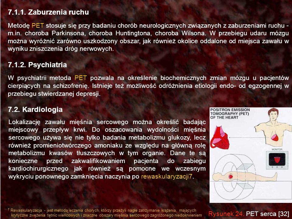 7.1.1. Zaburzenia ruchu Metodę PET stosuje się przy badaniu chorób neurologicznych związanych z zaburzeniami ruchu - m.in. choroba Parkinsona, choroba