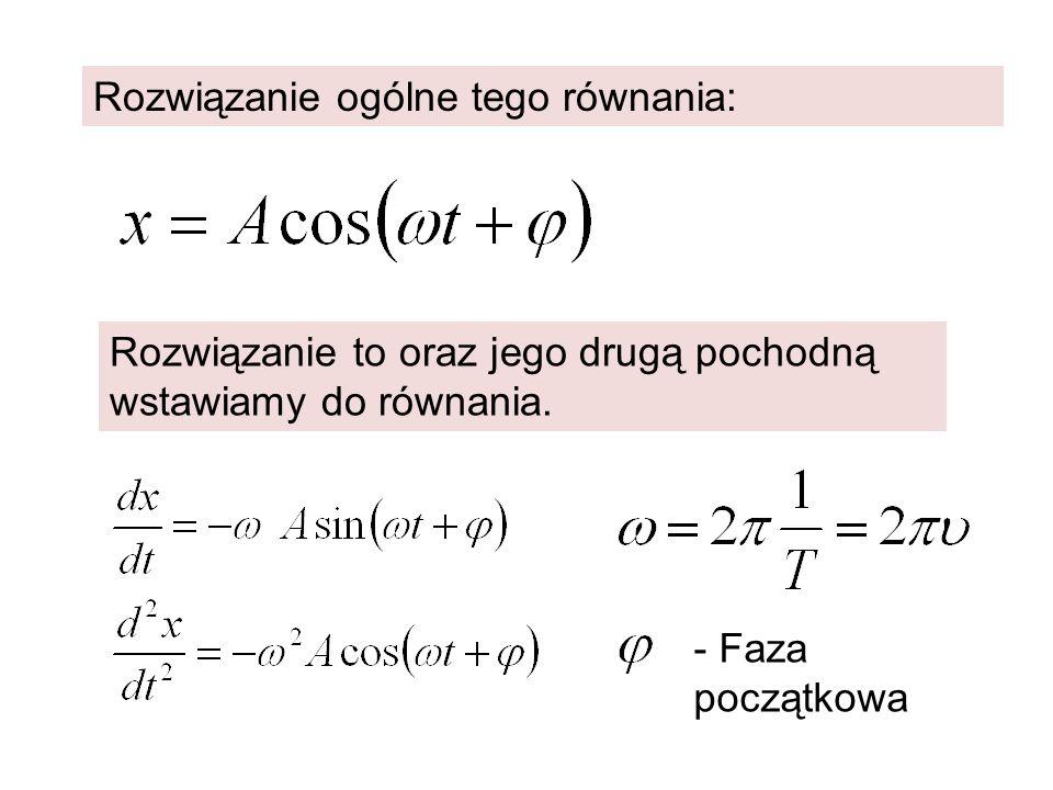 Rozwiązanie ogólne tego równania: Rozwiązanie to oraz jego drugą pochodną wstawiamy do równania. - Faza początkowa