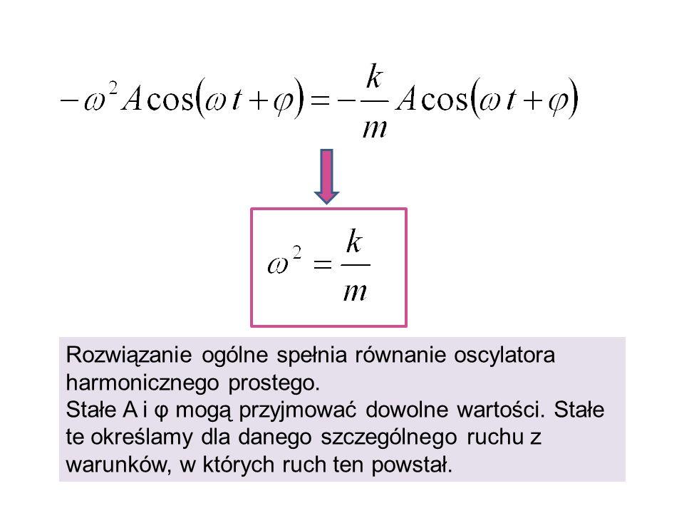 Rozwiązanie ogólne spełnia równanie oscylatora harmonicznego prostego. Stałe A i φ mogą przyjmować dowolne wartości. Stałe te określamy dla danego szc