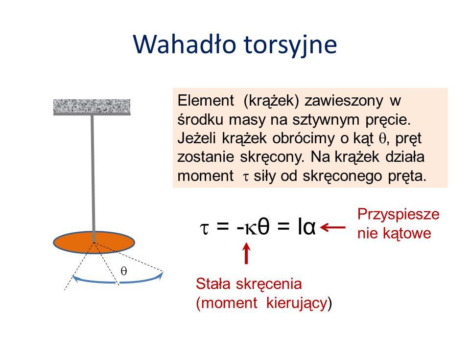 Wahadło torsyjne Element (krążek) zawieszony w środku masy na sztywnym pręcie. Jeżeli krążek obrócimy o kąt, pręt zostanie skręcony. Na krążek działa