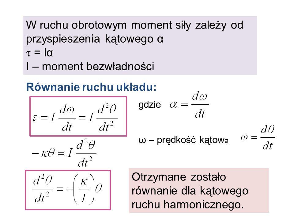 W ruchu obrotowym moment siły zależy od przyspieszenia kątowego α = Iα I – moment bezwładności Otrzymane zostało równanie dla kątowego ruchu harmonicz
