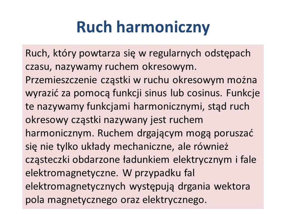 Ruch harmoniczny Ruch, który powtarza się w regularnych odstępach czasu, nazywamy ruchem okresowym. Przemieszczenie cząstki w ruchu okresowym można wy