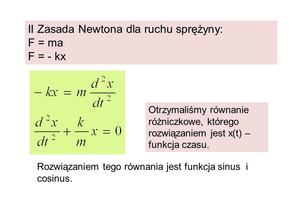 II Zasada Newtona dla ruchu sprężyny: F = ma F = - kx Otrzymaliśmy równanie różniczkowe, którego rozwiązaniem jest x(t) – funkcja czasu. Rozwiązaniem