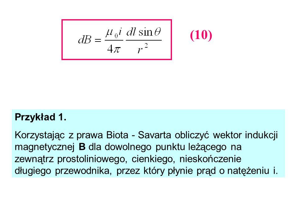 Przykład 1. Korzystając z prawa Biota - Savarta obliczyć wektor indukcji magnetycznej B dla dowolnego punktu leżącego na zewnątrz prostoliniowego, cie