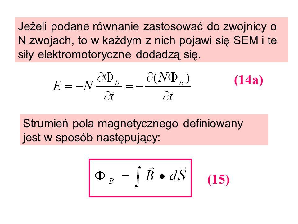 Jeżeli podane równanie zastosować do zwojnicy o N zwojach, to w każdym z nich pojawi się SEM i te siły elektromotoryczne dodadzą się. Strumień pola ma