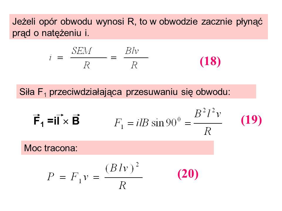 Jeżeli opór obwodu wynosi R, to w obwodzie zacznie płynąć prąd o natężeniu i. Siła F 1 przeciwdziałająca przesuwaniu się obwodu: Moc tracona: F 1 =il