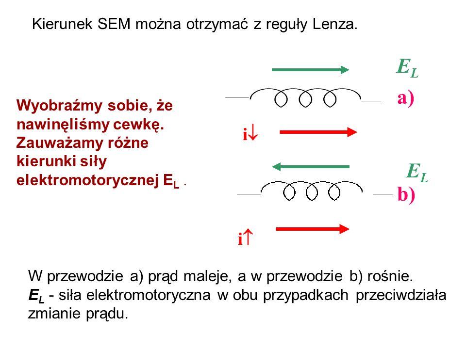 Kierunek SEM można otrzymać z reguły Lenza. a) b) W przewodzie a) prąd maleje, a w przewodzie b) rośnie. E L - siła elektromotoryczna w obu przypadkac