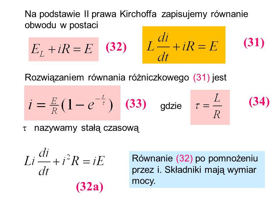 Na podstawie II prawa Kirchoffa zapisujemy równanie obwodu w postaci Rozwiązaniem równania różniczkowego (31) jest gdzie nazywamy stałą czasową (31) (
