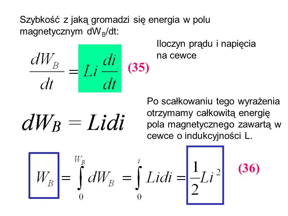 Szybkość z jaką gromadzi się energia w polu magnetycznym dW B /dt: Po scałkowaniu tego wyrażenia otrzymamy całkowitą energię pola magnetycznego zawart