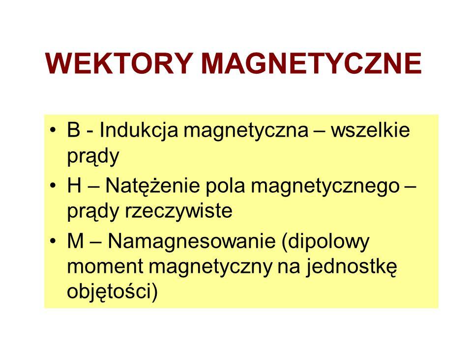 WEKTORY MAGNETYCZNE B - Indukcja magnetyczna – wszelkie prądy H – Natężenie pola magnetycznego – prądy rzeczywiste M – Namagnesowanie (dipolowy moment