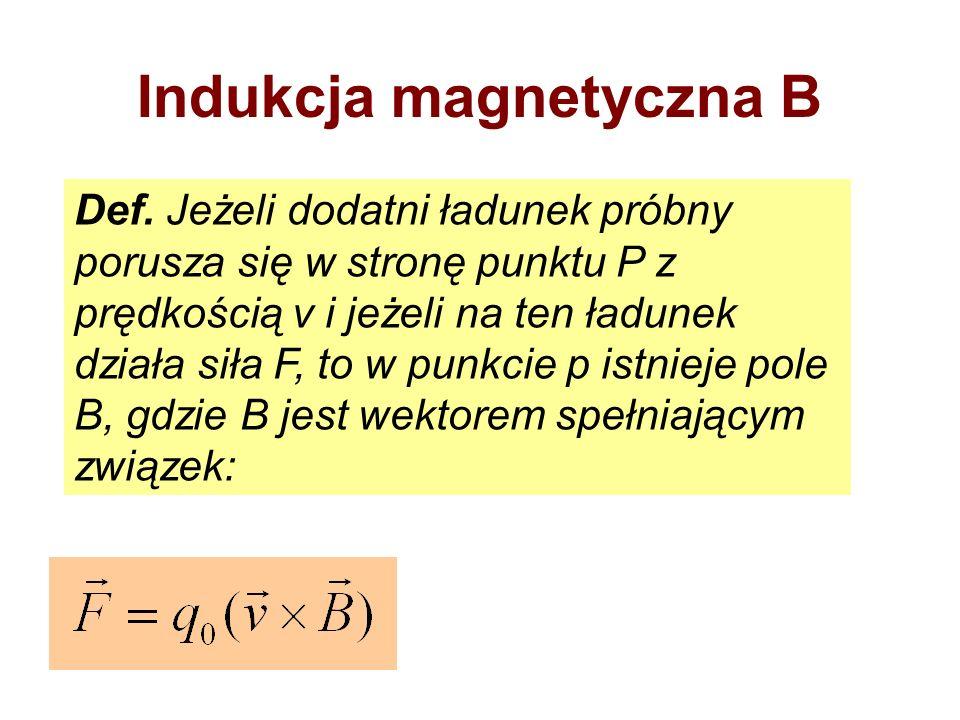 Indukcja magnetyczna B Def. Jeżeli dodatni ładunek próbny porusza się w stronę punktu P z prędkością v i jeżeli na ten ładunek działa siła F, to w pun