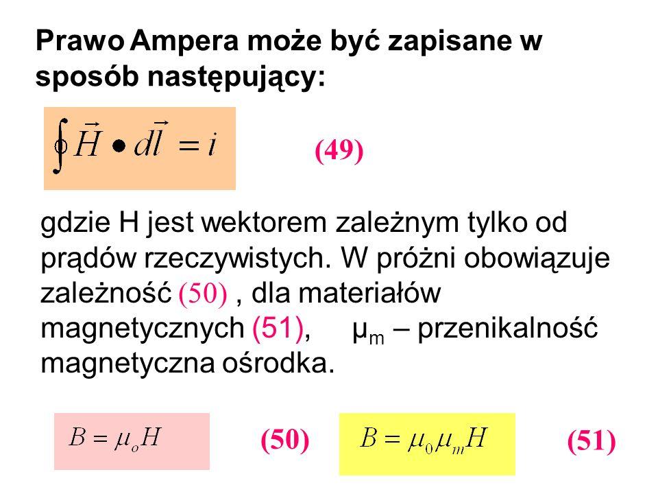 Prawo Ampera może być zapisane w sposób następujący: gdzie H jest wektorem zależnym tylko od prądów rzeczywistych. W próżni obowiązuje zależność (50),