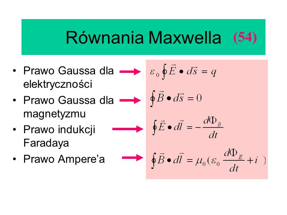 Równania Maxwella Prawo Gaussa dla elektryczności Prawo Gaussa dla magnetyzmu Prawo indukcji Faradaya Prawo Amperea (54)