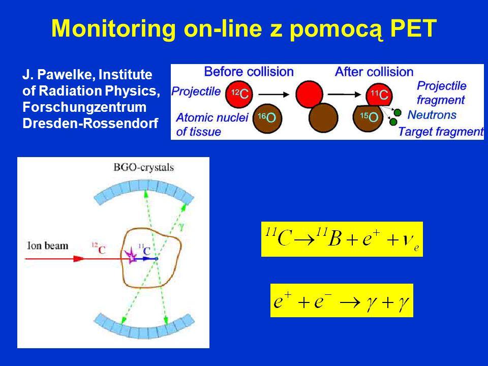 Monitoring on-line z pomocą PET J. Pawelke, Institute of Radiation Physics, Forschungzentrum Dresden-Rossendorf
