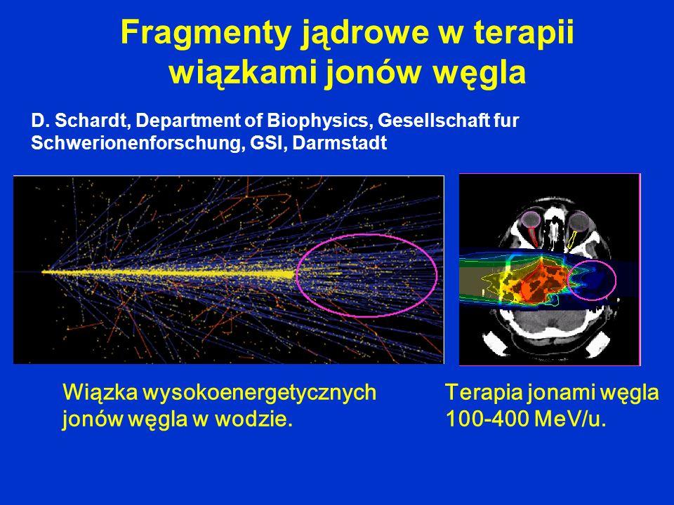 Fragmenty jądrowe w terapii wiązkami jonów węgla D. Schardt, Department of Biophysics, Gesellschaft fur Schwerionenforschung, GSI, Darmstadt Wiązka wy