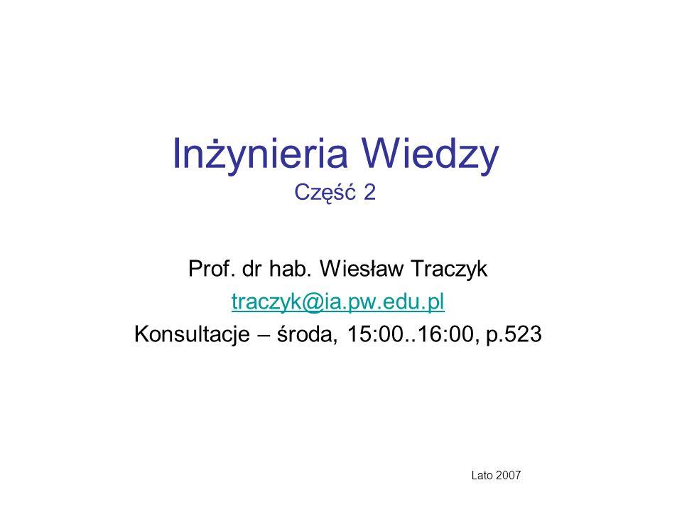 Inżynieria Wiedzy Część 2 Prof. dr hab. Wiesław Traczyk traczyk@ia.pw.edu.pl Konsultacje – środa, 15:00..16:00, p.523 Lato 2007