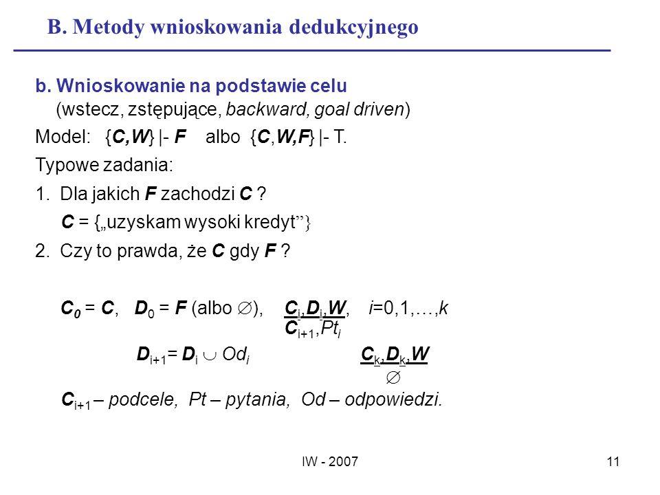 IW - 200711 B. Metody wnioskowania dedukcyjnego b. Wnioskowanie na podstawie celu (wstecz, zstępujące, backward, goal driven) Model: {C,W} |- F albo {