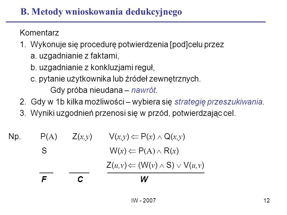 IW - 200712 B. Metody wnioskowania dedukcyjnego Komentarz 1.Wykonuje się procedurę potwierdzenia [pod]celu przez a. uzgadnianie z faktami, b. uzgadnia