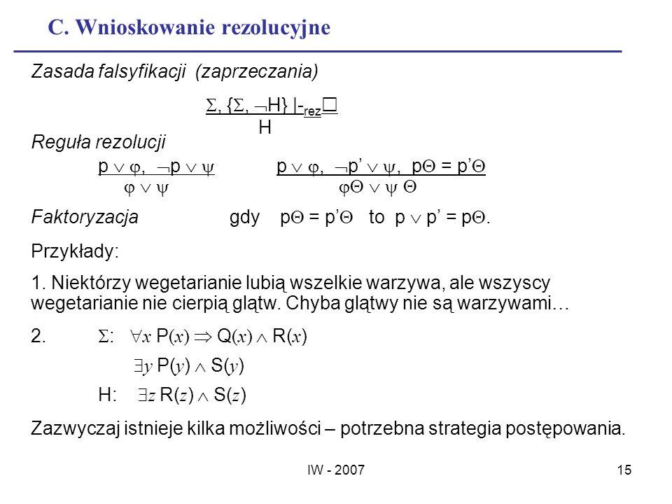 IW - 200715 C. Wnioskowanie rezolucyjne Zasada falsyfikacji (zaprzeczania), {, H} |- rez H Reguła rezolucji p, p p, p, p = p Faktoryzacja gdy p = p to
