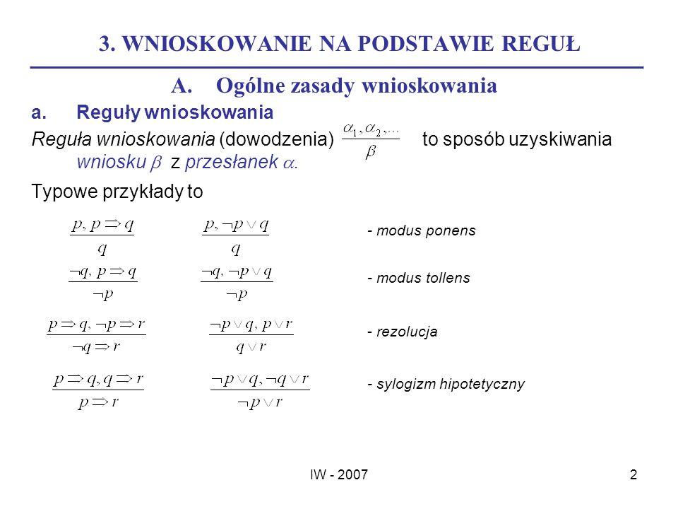 IW - 20072 3. WNIOSKOWANIE NA PODSTAWIE REGUŁ A.Ogólne zasady wnioskowania a.Reguły wnioskowania Reguła wnioskowania (dowodzenia) to sposób uzyskiwani