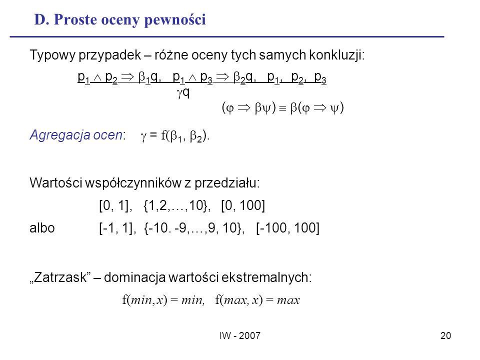 IW - 200720 D. Proste oceny pewności Typowy przypadek – różne oceny tych samych konkluzji: p 1 p 2 1 q, p 1 p 3 2 q, p 1, p 2, p 3 q ( ) Agregacja oce