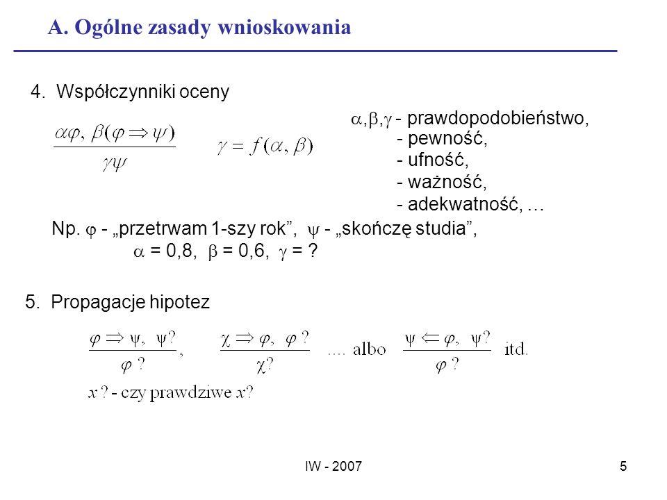 IW - 20075 A. Ogólne zasady wnioskowania 4. Współczynniki oceny,, - prawdopodobieństwo, - pewność, - ufność, - ważność, - adekwatność, … Np. - przetrw