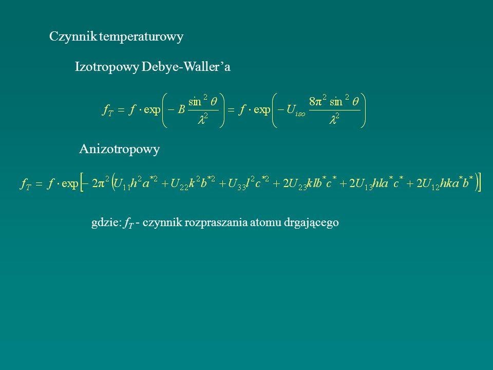 Czynnik temperaturowy Izotropowy Debye-Wallera Anizotropowy gdzie: f T - czynnik rozpraszania atomu drgającego