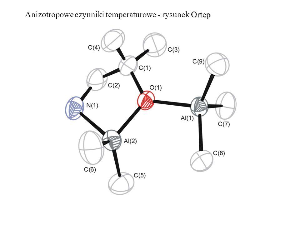 Ortep Anizotropowe czynniki temperaturowe - rysunek Ortep