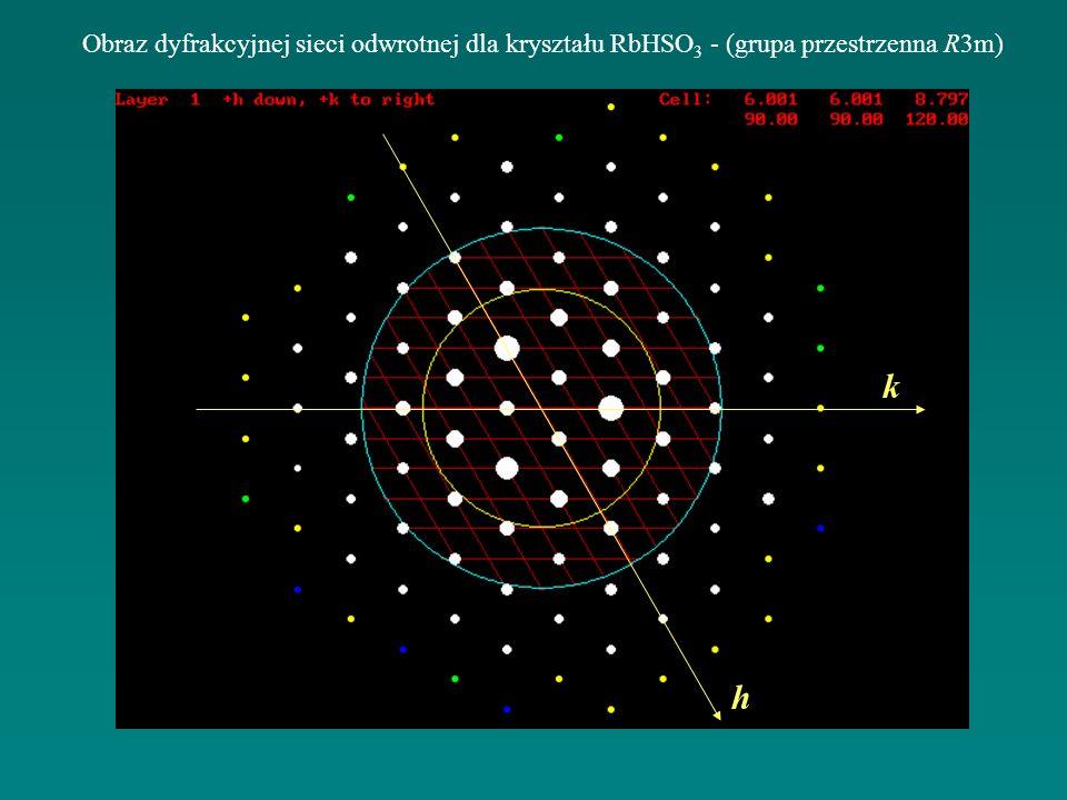 Obraz dyfrakcyjnej sieci odwrotnej dla kryształu RbHSO 3 - (grupa przestrzenna R3m) k h
