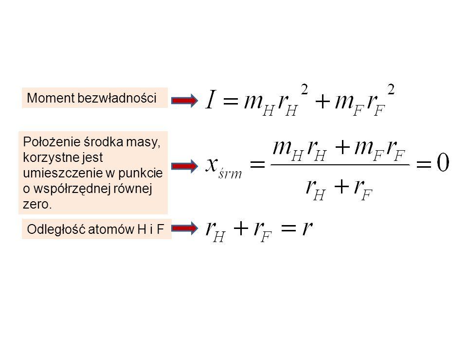 Moment bezwładności Położenie środka masy, korzystne jest umieszczenie w punkcie o współrzędnej równej zero. Odległość atomów H i F