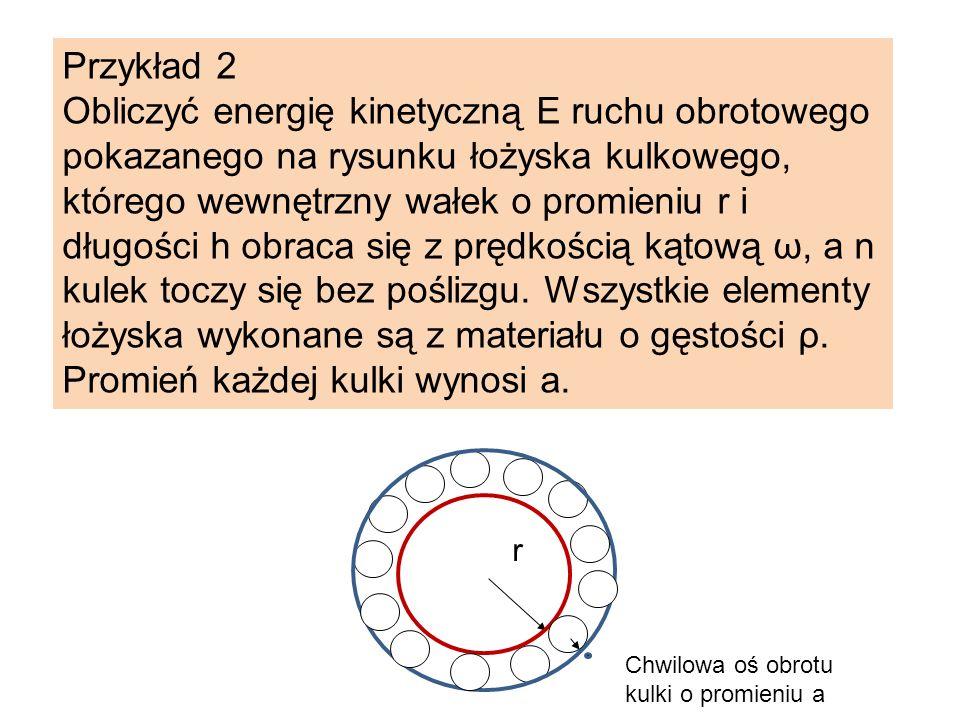 Przykład 2 Obliczyć energię kinetyczną E ruchu obrotowego pokazanego na rysunku łożyska kulkowego, którego wewnętrzny wałek o promieniu r i długości h
