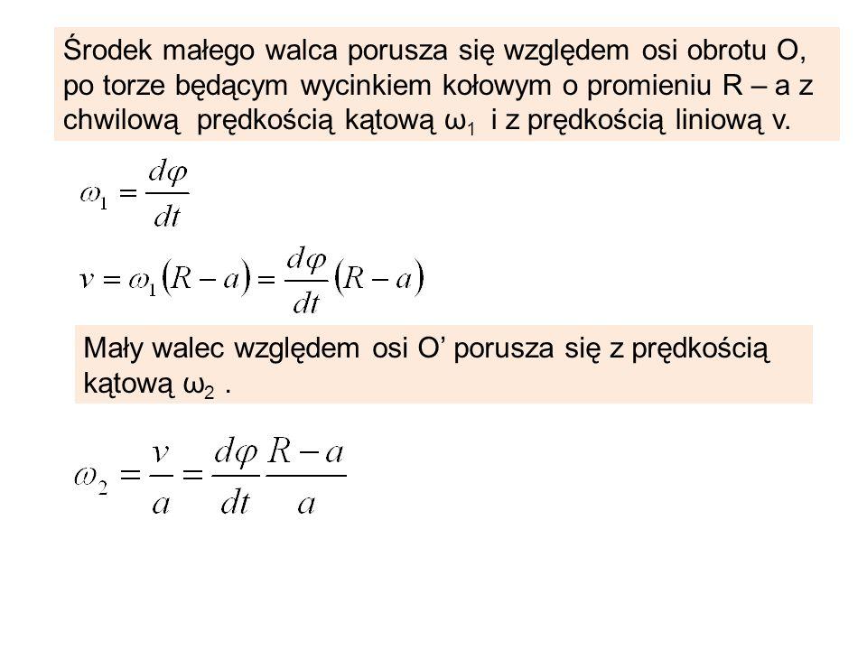 Środek małego walca porusza się względem osi obrotu O, po torze będącym wycinkiem kołowym o promieniu R – a z chwilową prędkością kątową ω 1 i z prędk